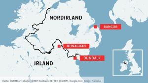 Karta där städerna Bangor, Moaghan och Dundalk är utmärkta.