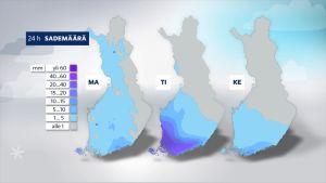 Karta över regnmängden.