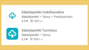 Kahden mobiilipankin latausnäkymä Google Play -kaupassa: Säästöpankin Sp-mobiili ja Oma Säästöpankin OmaMobiili.