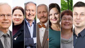 Turun pormestariehdokkaat 2021. Jarmo Laivoranta (kesk.), Minna Arve (kok.), Aki Lindén (sd.), Mikael Miikkola (ps.), Elina Rantanen (vihr.), Terhi Vörlund-Wallenius (r.) ja Sasu Haapanen (vas.).