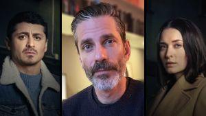 Kollaasi, jossa keskellä on kirjailija Jens Lapidus. Taustalla ovat Top Dog -sarjan päähenkilöt Teddy (Alexej Manvelov) ja Emily (Josefin Asplund).