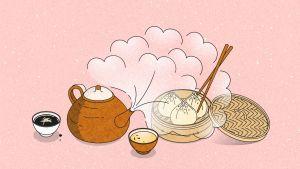 Piirroskuva, jossa vaaleanpunaisella taustalla teekannu ja -kuppeja sekä Dim Sum –palloja höyrytyskorissa.