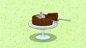 Piirroskuva, jossa vaaleanvihreällä taustalla suklaakakku. Kakkulapio on juuri nostamassa kakusta palaa. Kakun päällä on koristeena vaaleanpunaisia ruusuja.