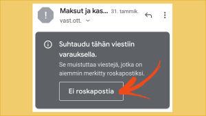 Ruutukaappaus tietokoneelta: Gmailin roskaposteista voi palauttaa viestejä pois, jos on varma siitä, etteivät ne ole roskaa.
