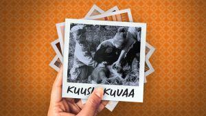 Neljä polaroid-kuvaa päällekkäin ja päällimmäinen on mustavalkoinen kuva Iidasta ja hänen sisaruksistaan pienen poronvasan ympärillä.