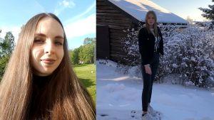 ett kollage av två bilder. på vänster sida finns medina med långt mörkt hår och på vänster sida en helbild av madicken i ett vintrigt landskap