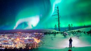 Graafisesti yhditetty kuva Lapista: vasemmassa laidassa kaupunkinäkymä valoineen, oikeassa luminen erämaamaisema. Etualalla hiihtäjä katsoo näkymiä.