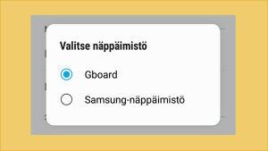 Kuvakaappaus Android-puhelimesta: Asetuksista valittuna oletusnäppäimistäksi Gboard.
