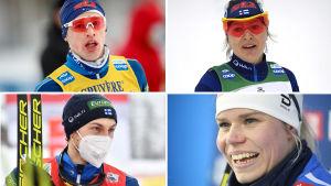 Bildkollage med Iivo Niskanen, Riitta-Liisa Roponen, Ilkka Herola och Jasmi Joensuu 2021.