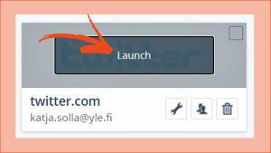 Kuvakaappaus LastPassista: Lisätty palvelu valittuna ja sivu aukeaa komennolla Launch.