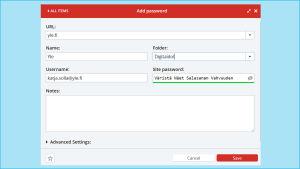 Kuvakaappaus LastPassista: Uuden palvelun lisääminen Add Item -painikkeesta.