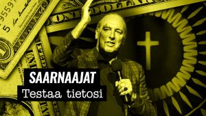 """Yhdysvaltalainen saarnaaja Brian Houston. Taustalla Amerikan dollarin seteli. Teksti: """"Saarnaajat. Testaa tietosi."""""""