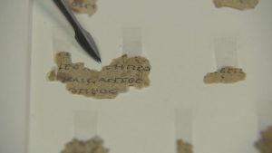 Pergamentbitar som hittades i en grotta på Västbanken