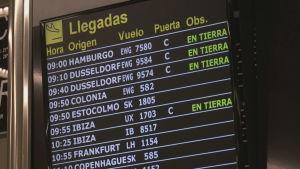 Anländande flyg till Mallorca