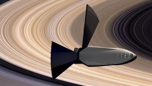 Konstnärens vision av rymdfarkost vid Saturnus.