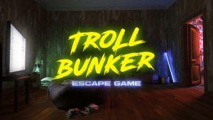 troll bunker escape room game logo.