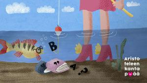 Piirretty kuva. Merenpohja missä on naisen jalat pohjassa, ahven silmälasilla ja kirja josta tulee kirjaimia. Teksti Aristoteleen kantapää.