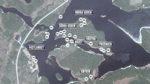 Karta över området där älgvandringen filmas.