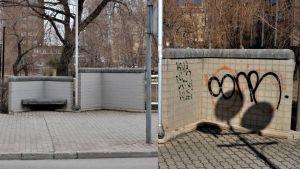 Till vänster en nymålad mur. Till höger samma mur med klotter på.