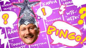 Mikko Silvennoinen hassussa hatussa, bingolomake taustalla