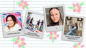 Kollaasi, jossa on Polaroid-tyylisesti esitettyjä valokuvia Au pairien Mirasta muun muassa kotonaan.