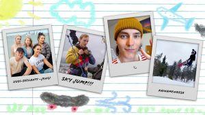 Kollaasi, jossa on Polaroid-tyylisesti esitettyjä valokuvia Au pairien Jussista muun muassa lumilautailemassa.