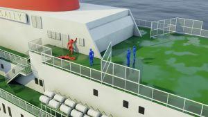 Grafik över hur det såg ut på Viking Sallys däck då offren hittades. En rödfärgad figur ligger och en annan rödfärgad figur lutar sig mot en vägg då tre blåfärgade figurer kommer fram till dem.