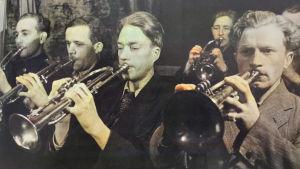 AllanSihvola soittaa trumpettia Petroskoin Rautatien soittokunnassa.