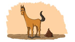 Piiroskuva hevosesta ja hevosenjätöksestä.