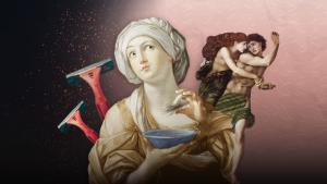 Antiikin nainen ripottelee karvoja kuppiin, taustalla patsas ja karvahöylä