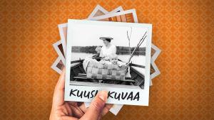 Martti Jämsä taaperona pärekorissa puuveneessä. Taustalla hattupäinen nainen soutamassa ja hänen takanaan veneen kokassa pieni lapsi. Järvimaisema.