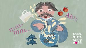 Piirroskuvassa mies sekoittaa kirjaimista ja nesteestä muodostuvaa keittoa.