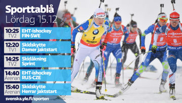 Yle Sportens TV-utbud lördagen 15.12.