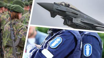 Försvaret, ett jaktplan och en polis.