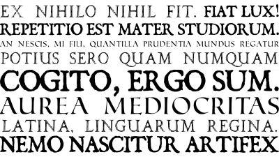Latinakielisiä fraaseja eri fonteilla