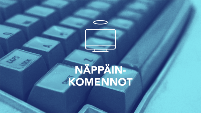 Tekstit: Digitreenit, Näppäinkomennot, yle.fi/oppiminen. Taustakuvassa tietokoneen näppäimistöä.