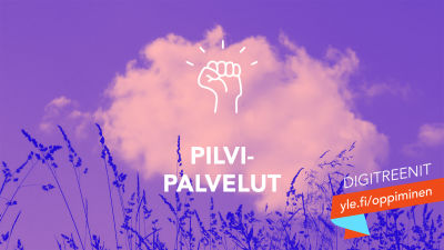 Tekstit: yle.fi/oppiminen, Pilvipalvelut, Digitreenit. Taustakuvassa pilvi taivaalla.