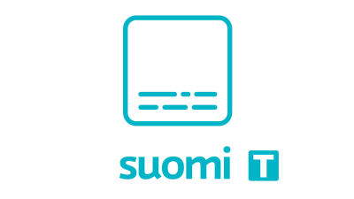 A symbol of an turquoise square with lines that looks like subtitles in the bottom. Underneath the text suomi and the letter T on a turquoise background.
