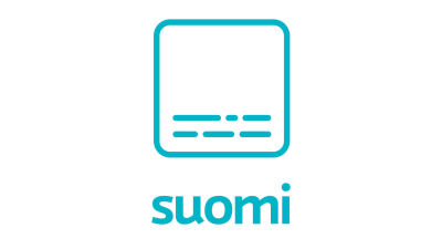 A symbol of an turquoise square with lines that looks like subtitles in the bottom. Under neath the text suomi.