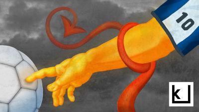 Piirros, jossa kultainen käsi koskettaa jalkapalloa, pirunhäntä on kietoutunut käden ympärille.