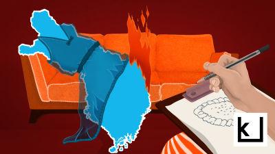 Suomi-neito makaa terapiassa, karjala on tulessa.