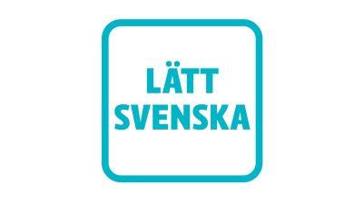 turkost märke på vit botten med texten lätt svenska