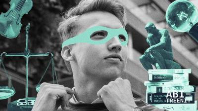 """nuori mies kohentaa kauluksia, päälle piirretty supersankarin naamio ja ympärillä erilaisia """"vahvuuksia"""""""