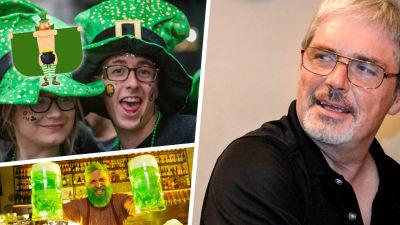 Kolage med irländaren Mal Fay samt St. Patrick's Day-utklädda människor i grönt.