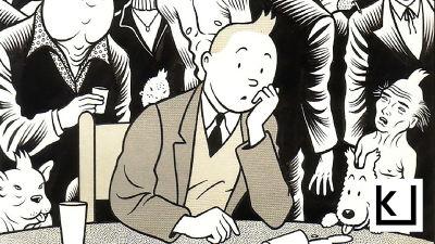 Sarjakuvasankari Tintti Chales Burnsin piirtämässä julisteessa.