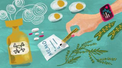 Piirretty kuva. Käsi kirjoittaa lapulle, etualalla myrkkypullo ja pillereitä.