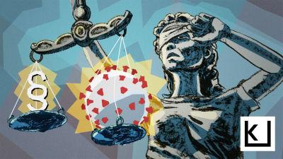 Oikeuden jumalatar punnitsee lakipykälää ja koronavirusta.