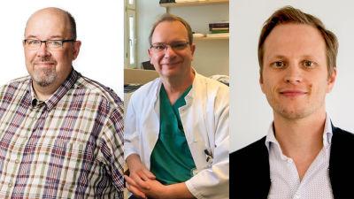 Tre män på rad, den mittersta i vit läkarrock.