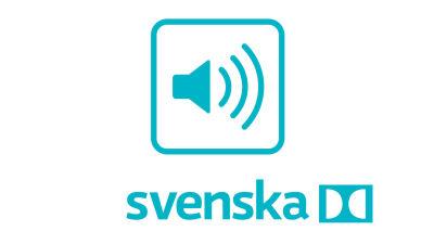Symbolen består av en högtalare med tre streck som symboliserar ljudsignaler inne i en turkos fyrkant med rundade hörn. Under fyrkanten står ordet Suomi skrivet med turkos färg och bredvid symbolen för Dolby-ljud dvs. två rundade halvmånar.