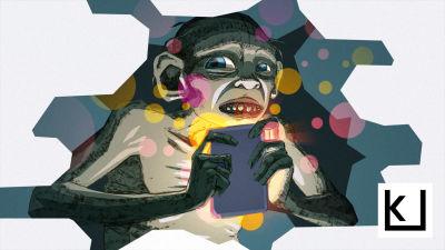 Kuvassa näkyy Klonkun kaltainen hahmo selaamassa kännykkää hiukan ahdistuneena